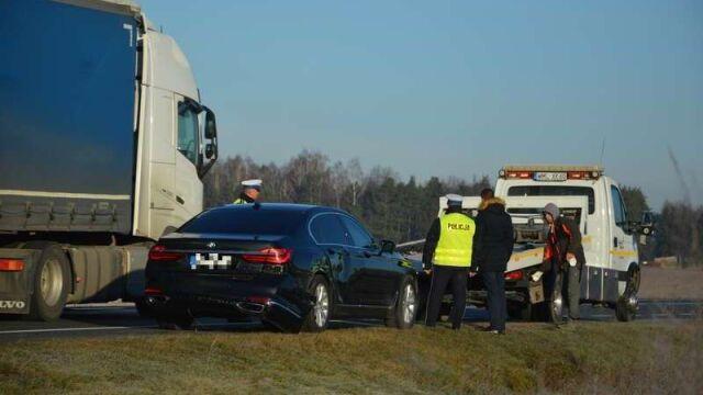 Auto SOP zderzyło się z ciężarówką. Gowin: nie było żadnego zagrożenia dla życia i zdrowia