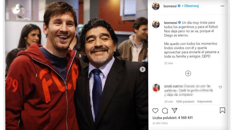 """""""Diego nas opuszcza, ale nigdzie się nie wybiera, on jest wieczny"""". Messi o Maradonie"""