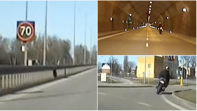 Pędził 200km/h, nie miał prawa jazdy. Niebezpieczny rajd motocyklisty w oku kamery