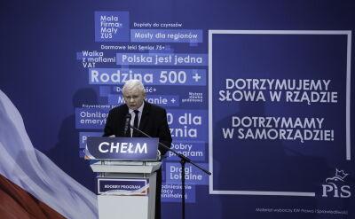 Jarosław Kaczyński podczas spotkania wyborczego w Chełmie