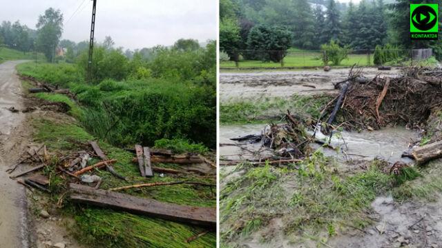 Uszkodzone dachy i połamane drzewa