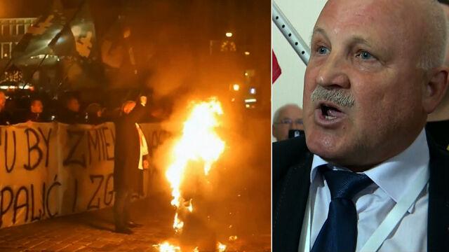 Policja zatrzymała Piotra Rybaka, trafił do więzienia za spalenie kukły Żyda