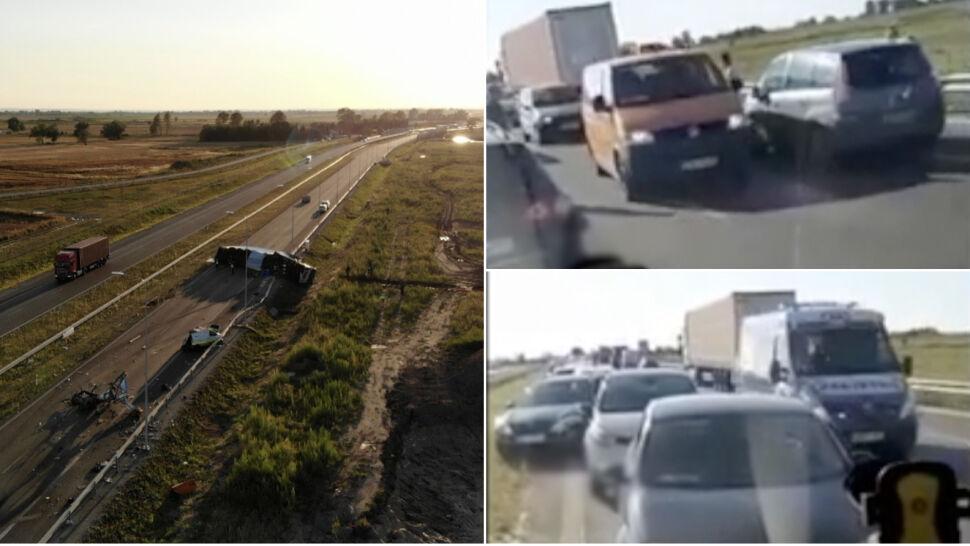 Zderzyły się ciężarówki, pomoc w drodze.  A kierowcy jadą pod prąd korytarzem życia