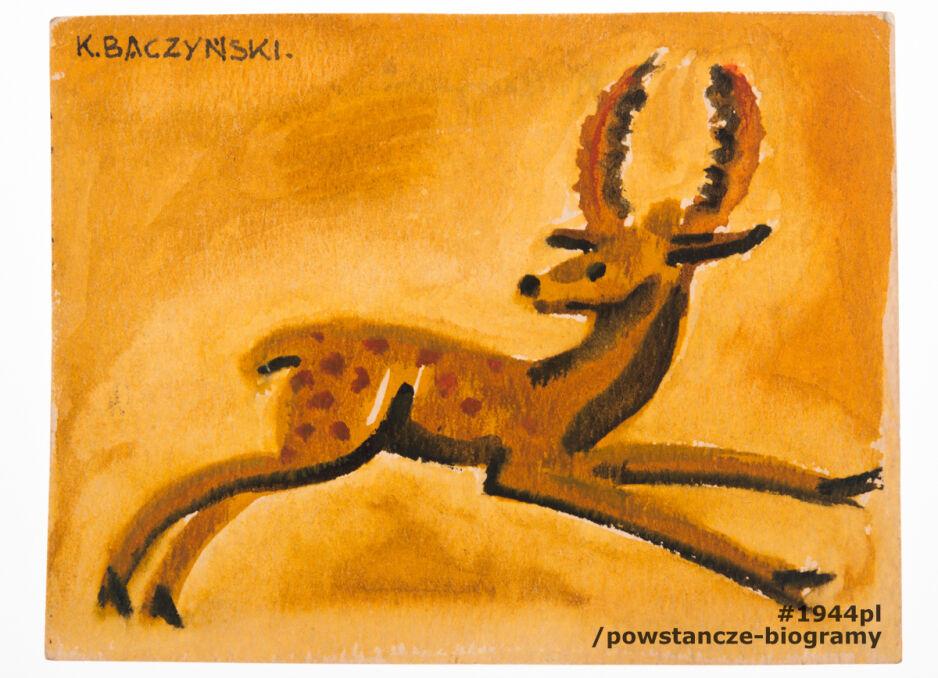 Rysunek autorstwa Krzysztofa Kamila Baczyńskiego przedstawiający jelonka. Akwarela była własnością Józefa Sosnowskiego, który otrzymał go od poety w 1942 roku.   Józef Sosnowski i Krzysztof Kamil Baczyński byli sąsiadami i mieszkali przy ul. Hołówki w Warszawie