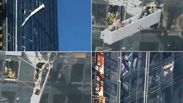 Akcja ratunkowa na ścianie wieżowca. Robotnicy utknęli, rusztowanie niszczyło budynek