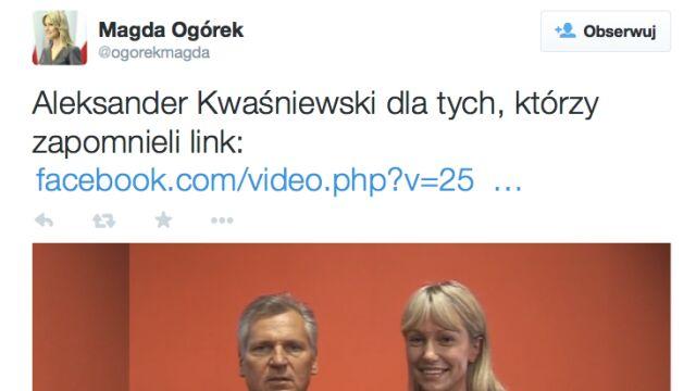 Kwaśniewski nie pamięta Ogórek? Kandydatka publikuje wspólny filmik