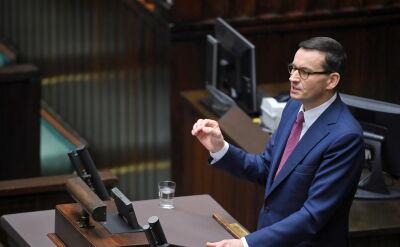 Premier przemawiał, marszałek Witek upomniała go dwa razy
