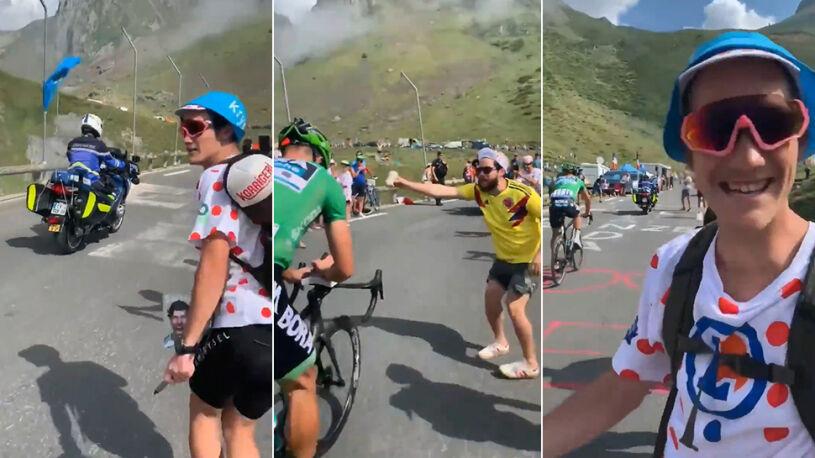 Morderczy podjazd na Tourmalet, a Sagan w trakcie wspinaczki podpisuje książkę