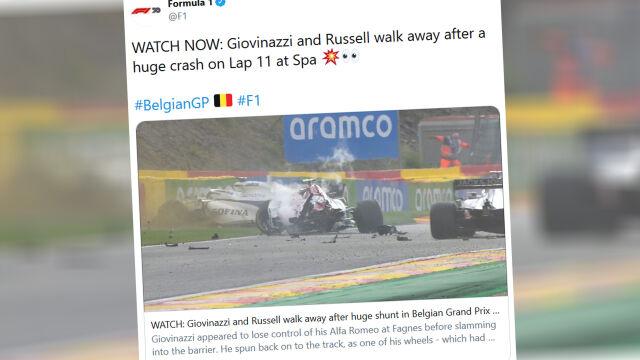 Urwane koło skasowało drugi samochód. Potężna kraksa w Grand Prix Belgii
