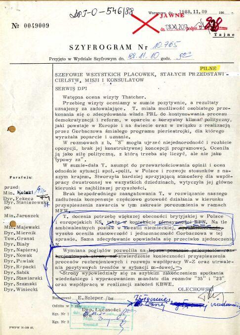 Okólnik do wszystkich polskich placówek dyplomatycznych i konsularnych w sprawie wizyty, 9 listopada 1988 r. (AMSZ).