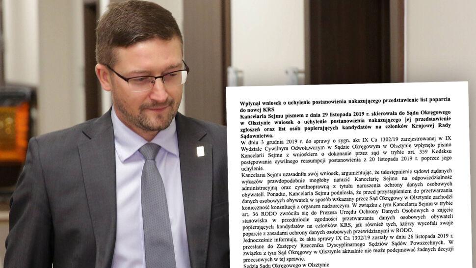Kancelaria Sejmu wysyła pismo. Chce uchylenia decyzji sędziego Juszczyszyna