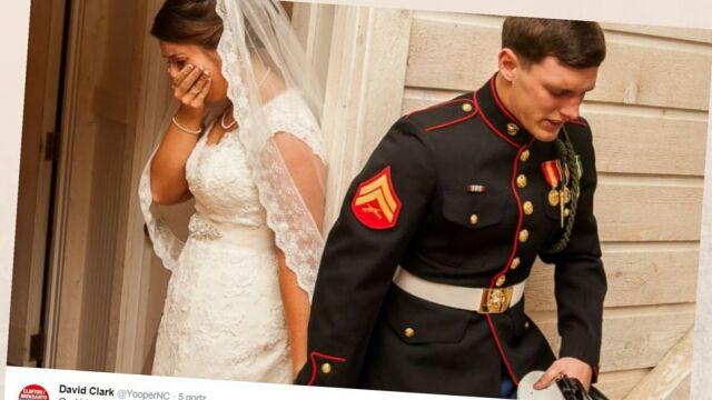 """Zdjęcie ślubne, które poruszyło internautów. """"Modliłem się za moją piękną i mądrą żonę"""""""