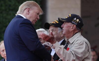 Trump i Macron podczas uroczystości 75. rocznicy D-day