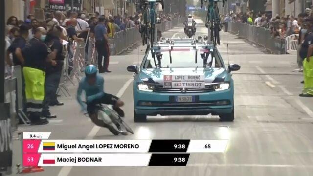 Groźny upadek na 1. etapie Giro d'Italia. Kolumbijczyk zabrany do szpitala
