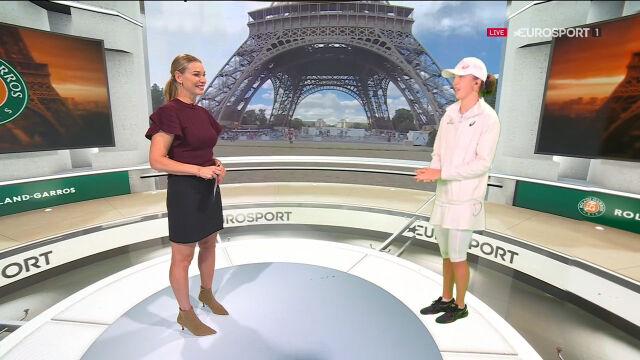 Iga Świątek w studiu Eurosport Cube po pokonaniu Bouchard w 3. rundzie Roland Garros