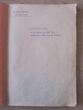 """Akta miasta Chełma, """"Ewidencja ludności z Wołynia"""", brak daty, tytuł oryginalny: """"Nachweisung in der Gemeinde der Stadt Cholm aufhältlichen Flüchtlinge aus Wolhynien"""", na liście jest 1578 osób"""