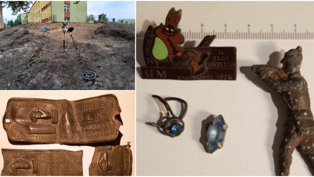 Pół grosza Poniatowskiego, carski żeton, figurka myśliwego i inne skarby sprzed szkoły