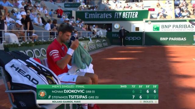 Djoković wygrał 4. seta finału French Open