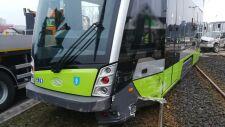Miejsce zderzenia tramwaju z mitsubishi