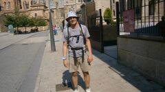 Bartosz Kownacki na szlaku pielgrzymkowym do katedry w Santiago de Compostela, październik 2013 r.