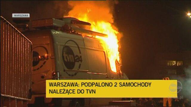 Zniszczone zostały samochody TVN24 (TVN24)