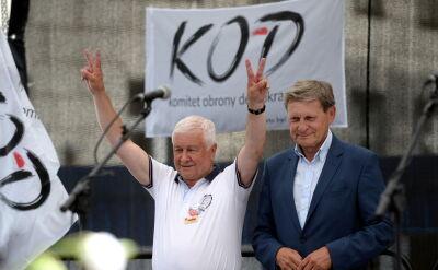 Balcerowicz na demonstracji przed Sejmem