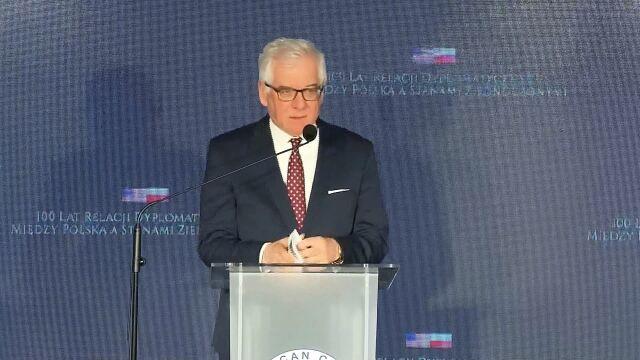 Wystąpienie szefa MSZ na gali z okazji stulecia stosunków dyplomatycznych Polska-USA