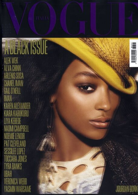 """All Black Issue"", lipiec 2008, ""Vogue Italia"" - Jourdan Dunn"