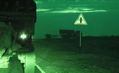 Rosyjska artyleria w drodze na granicę