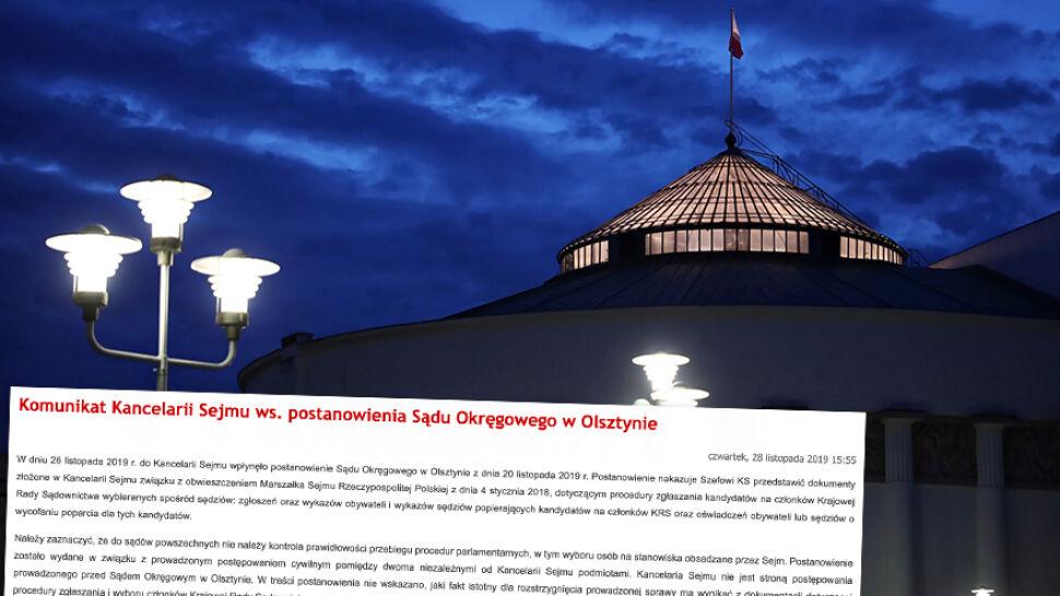 Kancelaria Sejmu wydała komunikat  w sprawie postanowienia sądu w Olsztynie