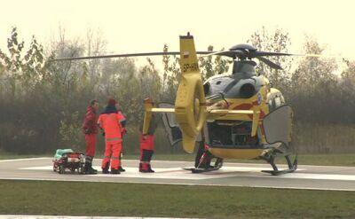 Poparzony w pożarze mężczyzna jest transportowany do Siemianowic Śląskich