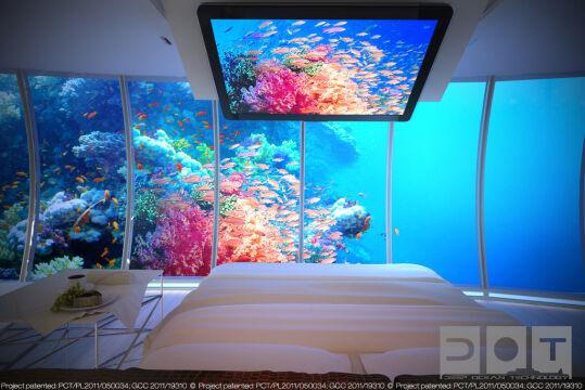 Z pomieszczeń mieszkalnych widok będzie na podwodny krajobraz