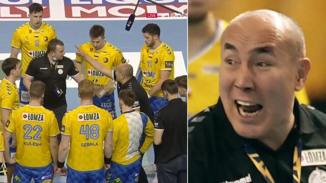 Krzyk trenera Łomży Vive niósł się po całej hali. Mikrofon wszystko zebrał