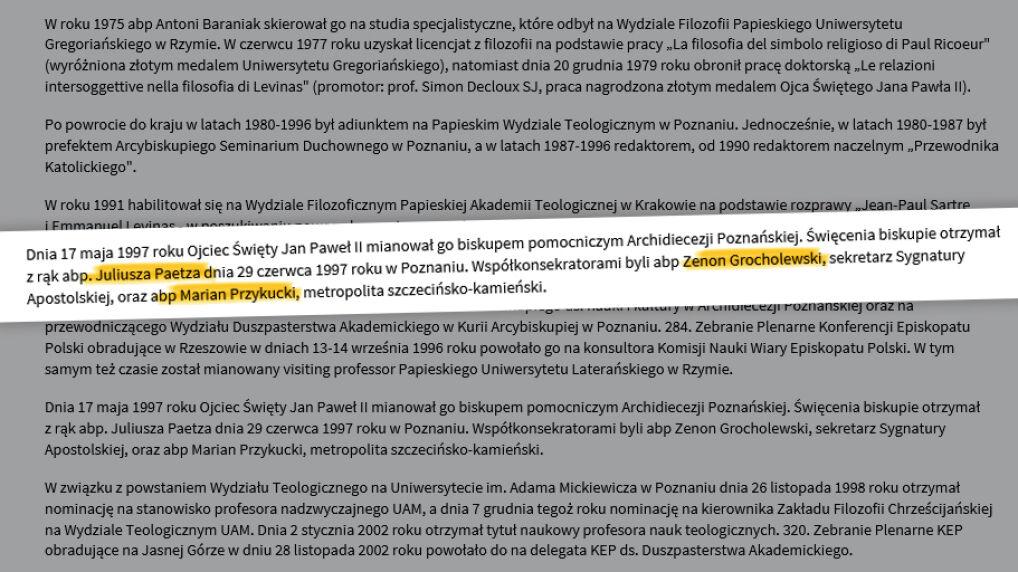 Biogram Marka Jędraszewskiego na stronie Archidiecezji Poznańskiej