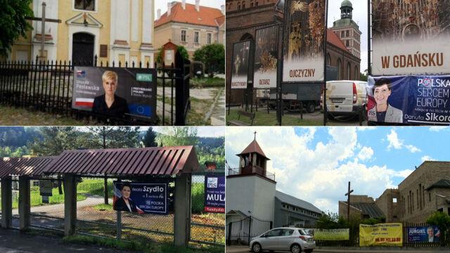 """Plakaty wyborcze na terenie kościołów (materiał magazynu """"Polska i Świat"""" z 23.05.2019)"""