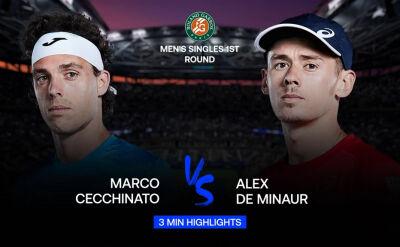 Skrót meczu Cecchinato - De Minaur w 1. rundzie Roland Garros