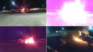 Furgonetka stanęła  w ogniu, chwilę później wybuchła