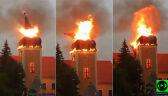 Runęła iglica w czasie pożaru kościoła