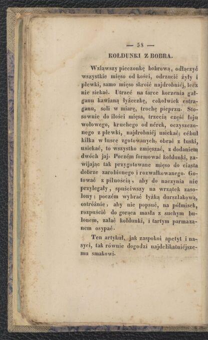 """Przepis na kołdunki z bobra, Jan Szytler, """"Kuchnia myśliwska czyli Na łowach. Dla uśmierzenia głodu, dogadzając oraz najdelikatniejszemu smakowi. Z dodaniem rad i przepisów"""", Wilno (1845 rok)"""