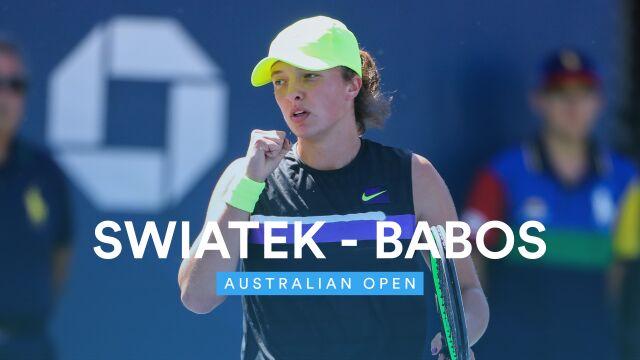Skrót meczu Świątek - Babos w 1. rundzie Australian Open