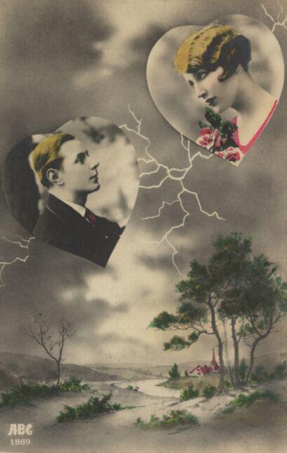 Kobieta i mężczyzna w sercach umieszczonych na tle pejzażu z błyskawicą