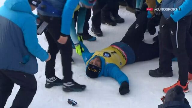 Szalona radość Francuzów, Fourcade wylądował na śniegu