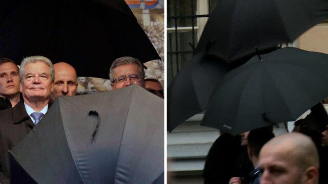 Komorowski, Zeman i Gauck  w Pradze. Poleciały jajka