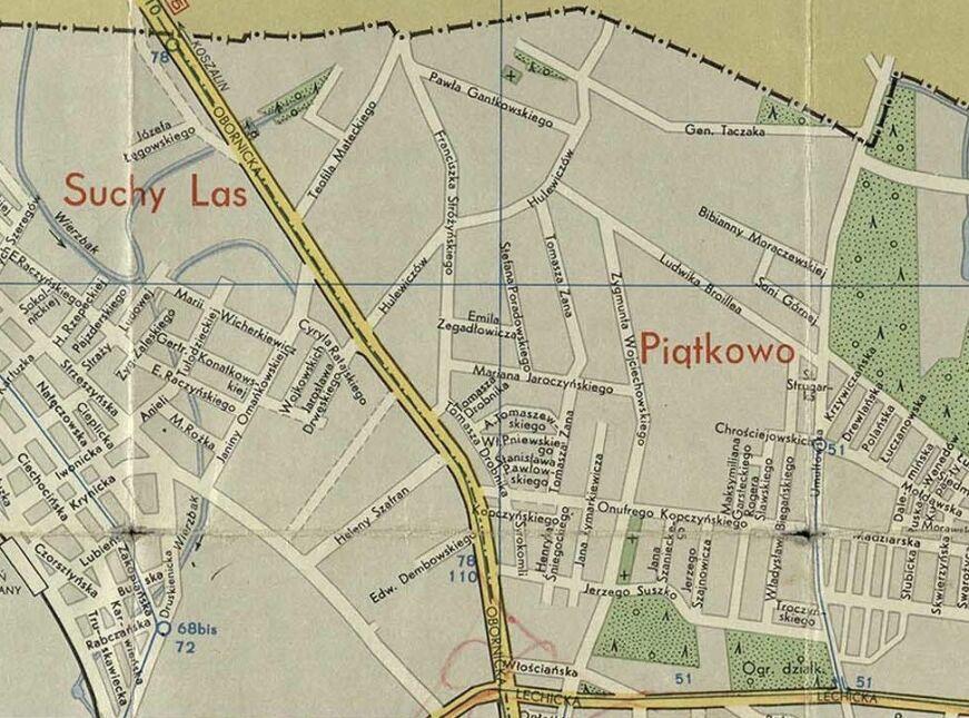 Piątkowo na planie miasta z 1974 r.