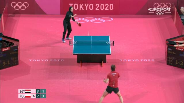 Tokio. Skrót meczu Partyka – Meshref w 2. rundzie turnieju tenisa stołowego kobiet