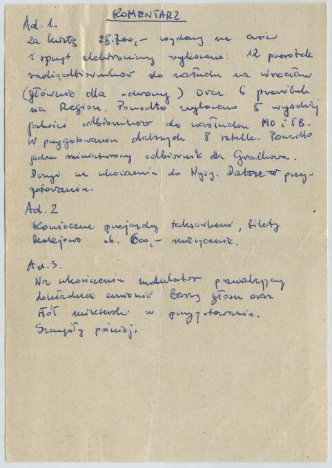 """Druga strona notatki """"Pawła"""", w której można się dowiedzieć, że planowano przekazać odbiorniki do nasłuchu m.in. do ośrodków internowania w Grodkowie i Nysie"""