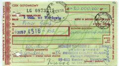 """Awers czeku wystawionego przez dolnośląską """"S"""" na Józefa Piniora i kwotę 80 milionów złotych"""