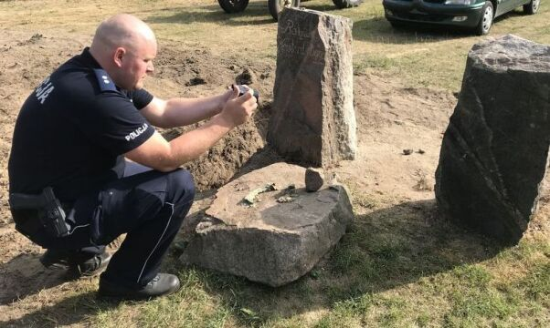 the police officers found a dozen historic 19th-century signposts