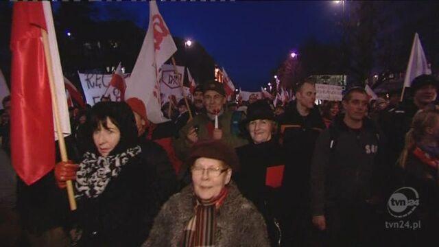 Manifestacja w proteście przeciw reformie emerytalnej (TVN24)