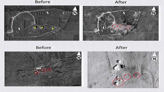 Trzy cele, 105 pocisków.  Pentagon pokazuje zdjęcia